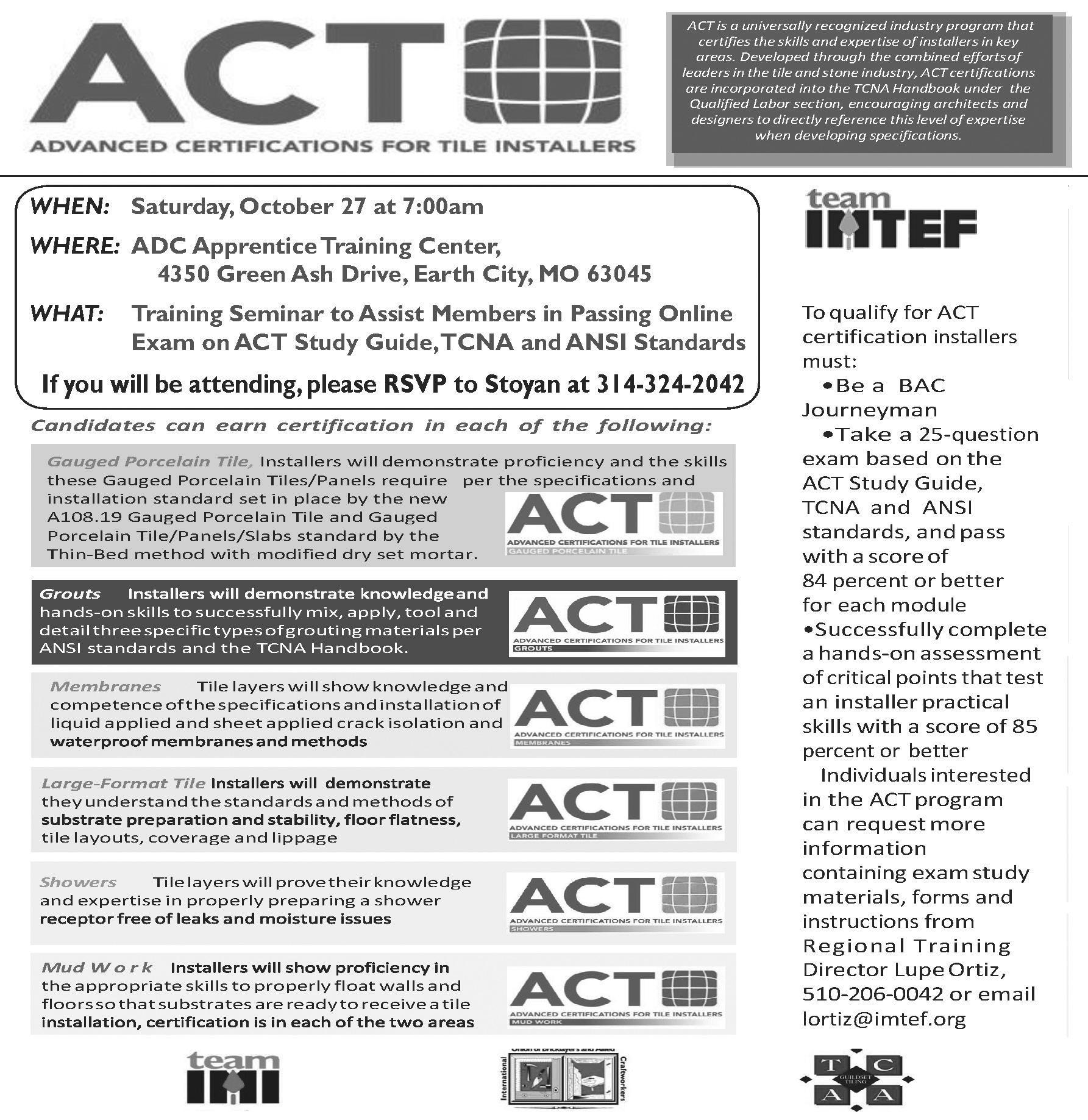Act Training For Local 18 Tile Setters Amp Finishers Bac